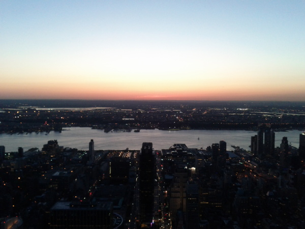 View from the Empire State Building looking west at sunset